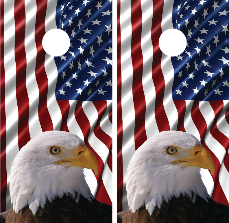 Waving American Flag Bald Eagle Cornhole Board Decal  Wrap Wraps  exciting promotions