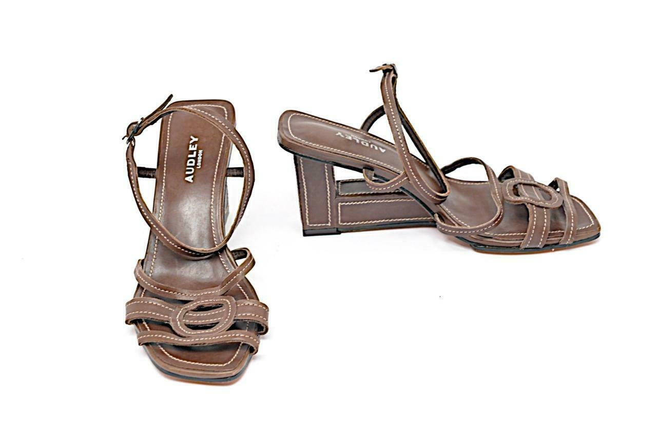 Audrey London, cuero marrón, sandalias, construcción, tacones, 36 yardas, EE.UU., 6 yardas, nwob.