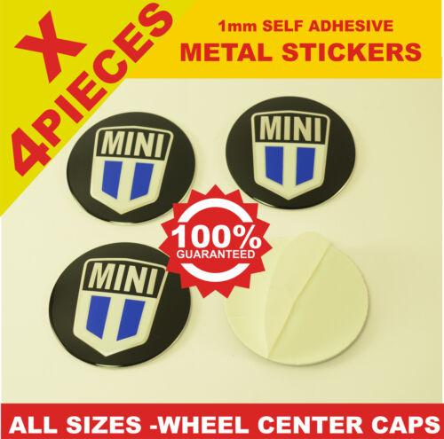 wheel center caps 4x metal STICKERS front rear badge hub emblem cover MINI