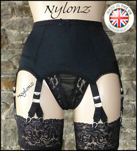 6-Strap-12-Clip-V-Clip-Suspender-Belt-BLACK-Garter-Belt-NYLONZ-Made-In-UK