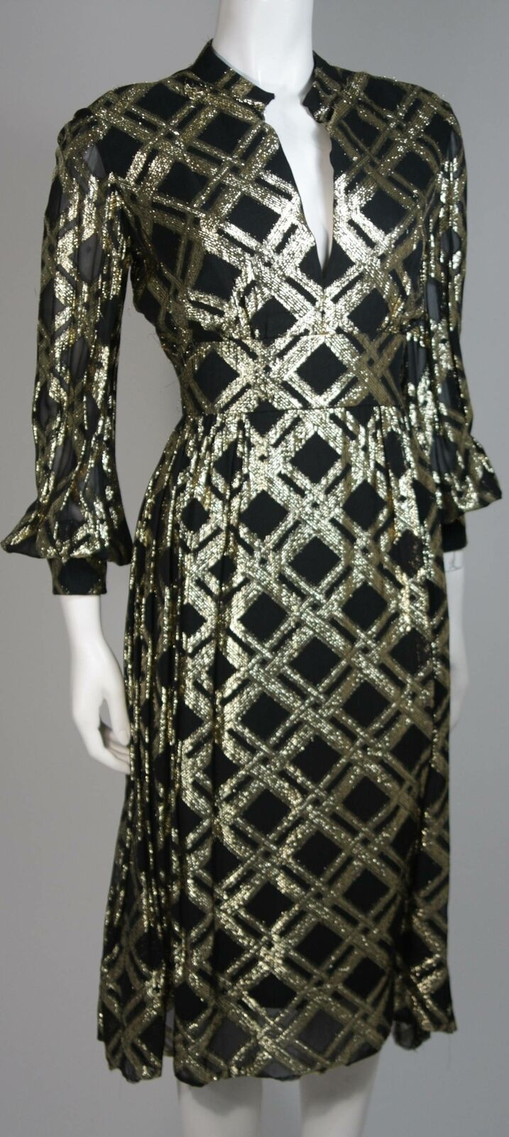 CEIL CHAPMAN Black Silk and Gold Cocktail Dress S… - image 5