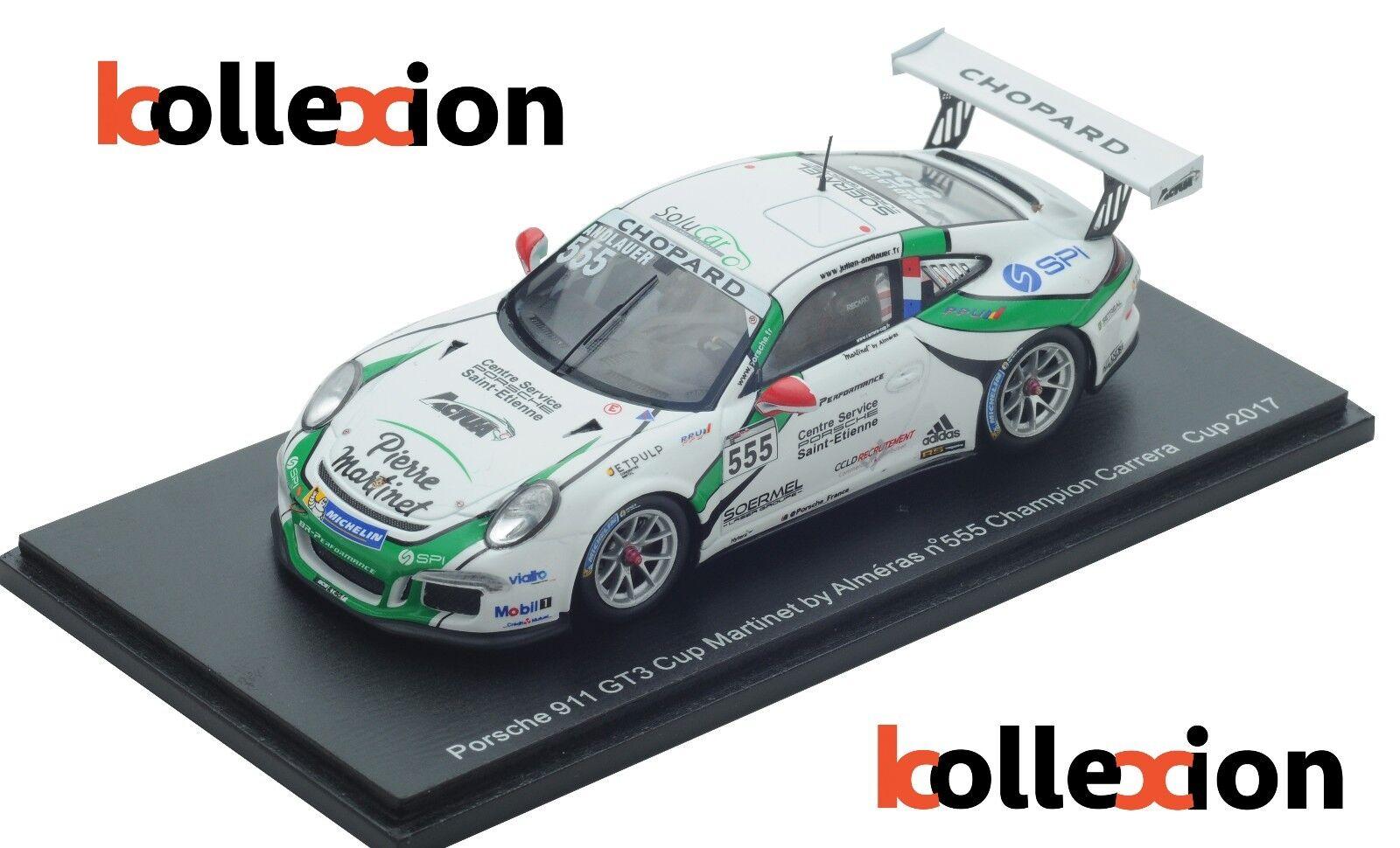SPARK 43KX008 PORSCHE  Carrera Cup n°555 Champion 2017 J.Andlauer 1.43 Exclu.KX