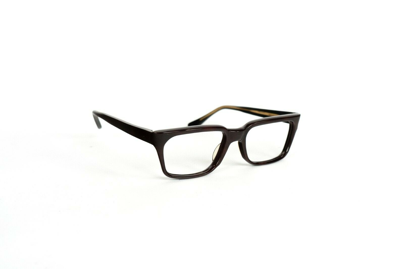 Brown Acrylic Frame Square Shape Glasses Vintage Fashion Accessory DeadStock