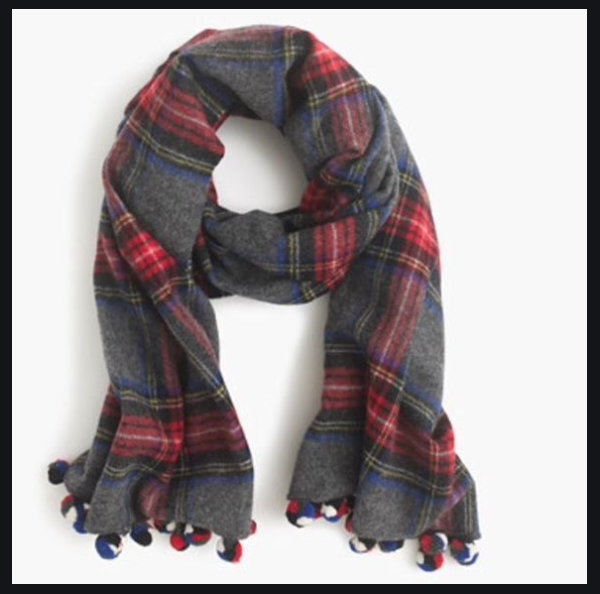 NWT - ONE SIZE - J.Crew Plaid pom-pom scarf - 100% Wool - 70