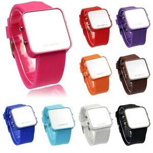 Nuevo-Diseno-De-Moda-Led-Espejo-cara-Digital-Reloj-De-Pulsera-Unisex-Regalo