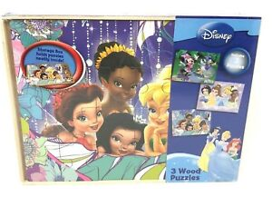 Cardinal-Disney-Lot-De-3-Bois-24-PC-Puzzles-avec-Boite-de-rangement-princesse-fee-Minnie