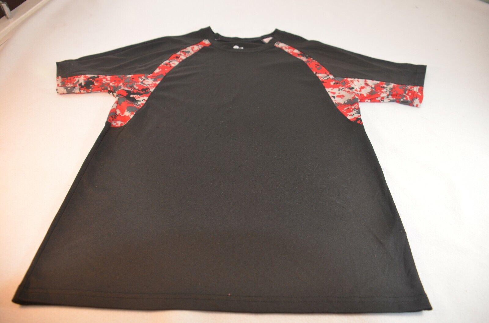 Badger Men Shirt Size S Black Red Gray Polyester Short Sleeve