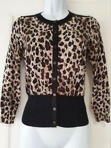 Womens-Karen-Millen-Black-Brown-Animal-Leopard-Popper-Fastening-Knit-Cardigan-2