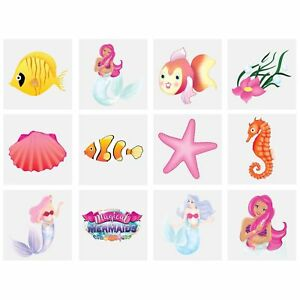Details about Mermaids Temporary Tattoos Kid Party Bag Fillers Childrens  Children's Boys Girls