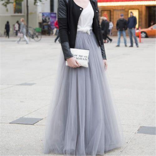 6 Layer Maxi Women/'s Tulle Skirts100cm Long Celebrity Skirt Ball Gown