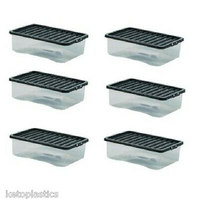 MULTI PACK OF 6 under bed 32 litre storage new (made in uk) CLEAR BASE BLACK LID
