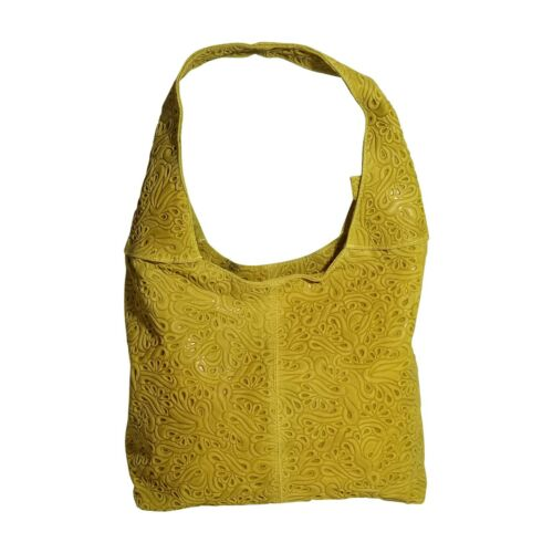 Italian yellow tooled leather shoulder bag ;3 compartments by Vittoria Pacini