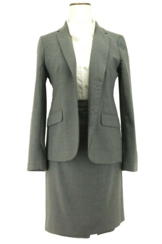J Crew Women's Gray 100% Wool Skirt Suit Size 8P