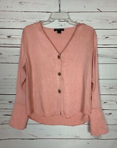Something Navy Women's S Small Pink Button Long Sleeve Spring Summer Top Blouse