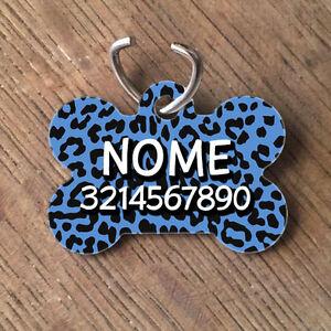 Medaglietta-PERSONALIZZATA-cane-forma-di-osso-NOME-telefono-leopardata-blu