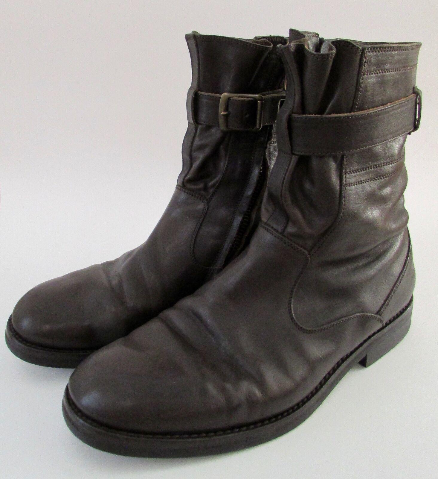 Dries Van Noten Buckle Leather Chelsea Chukka Boots 42  9 Made in