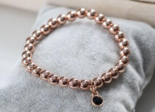 Perlenarmband Damen rosegold Heamtite Perlen Anhänger Schmuckstein schwarz