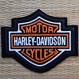 Harley-Davidson-Classic-Orange-Logo-Sew-on-Patch-Small-Made-in-USA