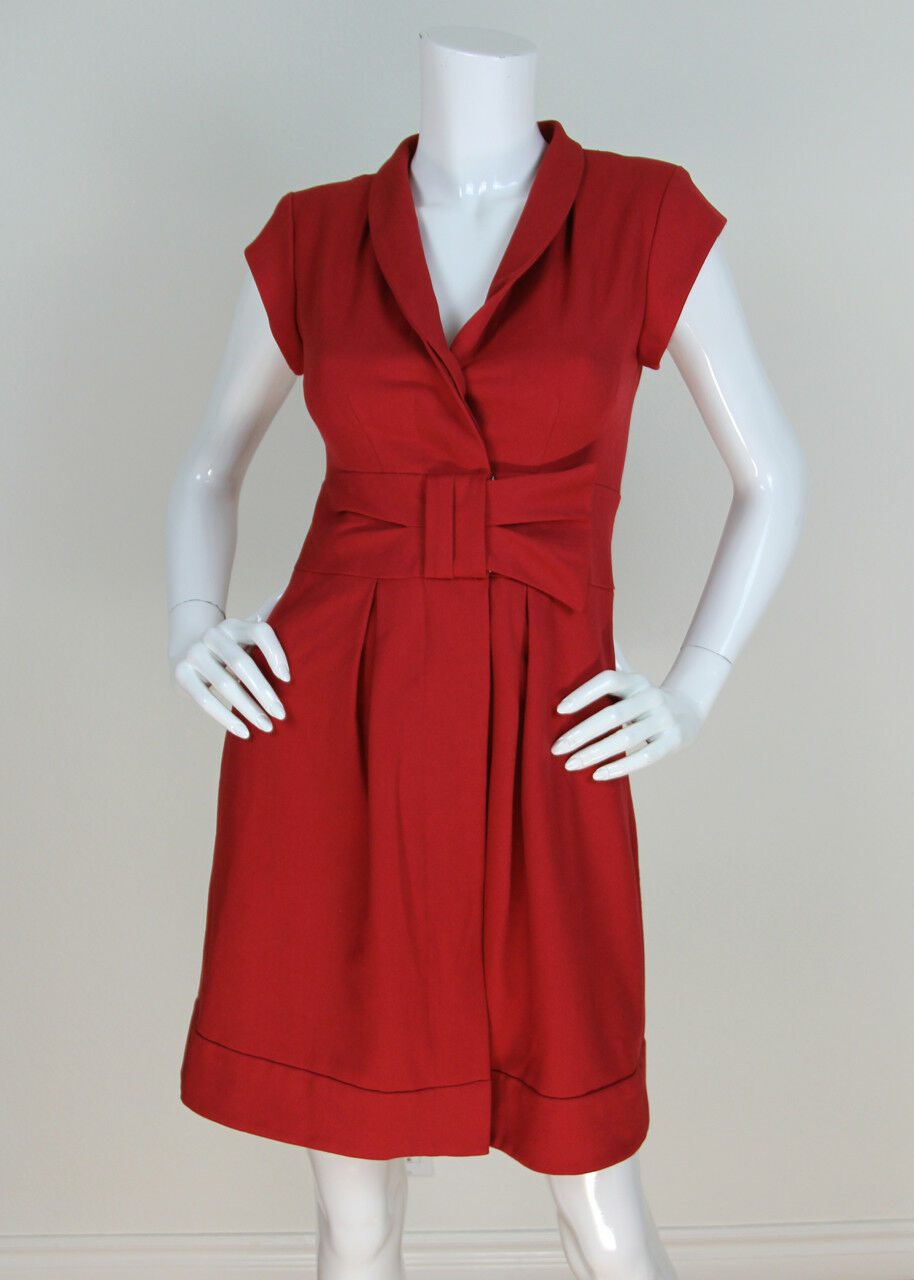 Nanette Lepore Sz 0 0 0 XS Red Elks Lodge Retro Bow Notched Collar Dress ASO Girls 7d1a10