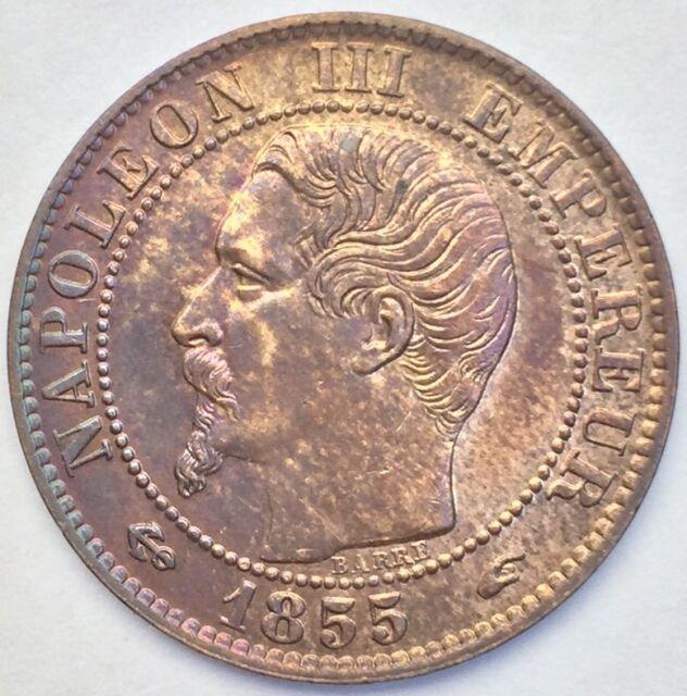 France Napoléon III 5 centimes 1855 A ancre bronze #1078