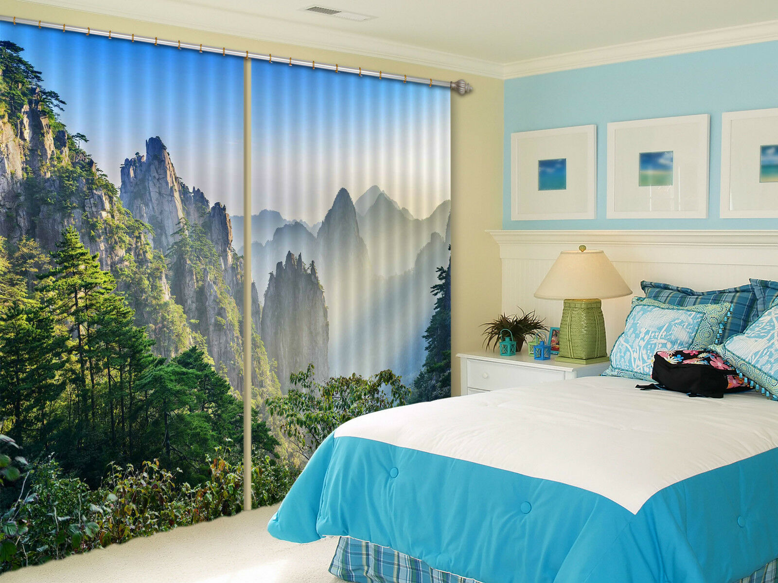 3d montagna vista 325 blocco foto sipario pressione sipario tende tessuto finestra de