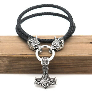 Men-039-s-Norse-Viking-Leather-Cord-Wolf-Chain-Thor-Hammer-Mjolnir-Pendant-Necklace