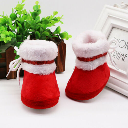 Infant Newborn Baby Girls Cashmere Plush Winter Boots Warm Shoes Lace Up Slipper