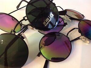 3-x-Nickelbrille-Brille-Rund-Vintage-Sonnenbrille-Neu-mit-UV-Schutz