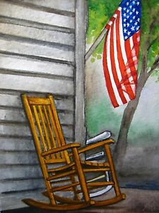 Image Is Loading Watercolor Painting Porch Wooden Rocking Chair House American