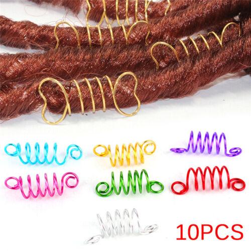 10Pcs Metal Hair Braid Dreadlock Beads Cuffs Clips Braid Spiral Jewelry Deco RHC