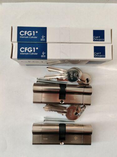 1 pair 45//50 Carl F 1 Star Euros satin chrome  anti snap keyed alike with 6 keys
