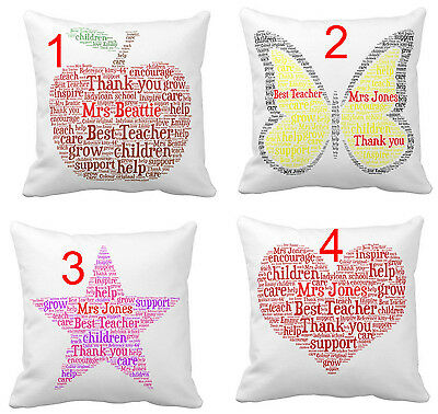 Personalised Word Art Cushion Teacher Childminder Thank you gift with your words