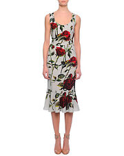 Dolce & Gabbana Scoop-Neck Rose-Print Flounce Dress Orig$2795 Size - 42IT/6-8US