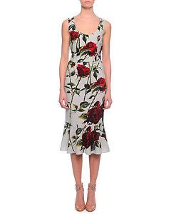 Dolce-amp-Gabbana-Scoop-Neck-Rose-Print-Flounce-Dress-Orig-2795-Size-42IT-6-8US