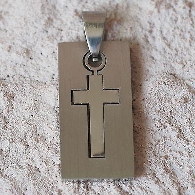 Das Beste Neu Edelstahl AnhÄnger Kreuz Silber Dog Tag Edelstahlanhänger KreuzanhÄnger Ausgezeichnete (In) QualitäT