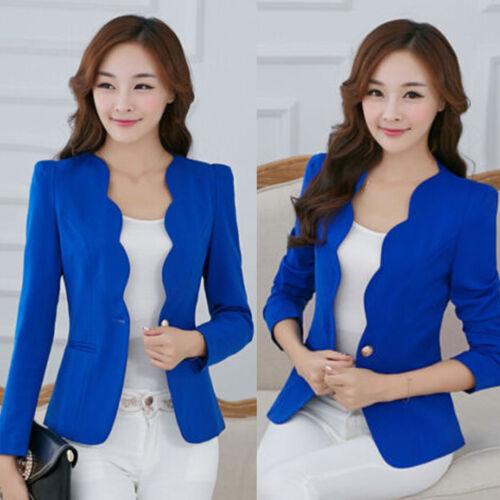 Damen One Button Büro OL Business Freizeit Blazer Anzug Jacke Coat Sakko Outdoor