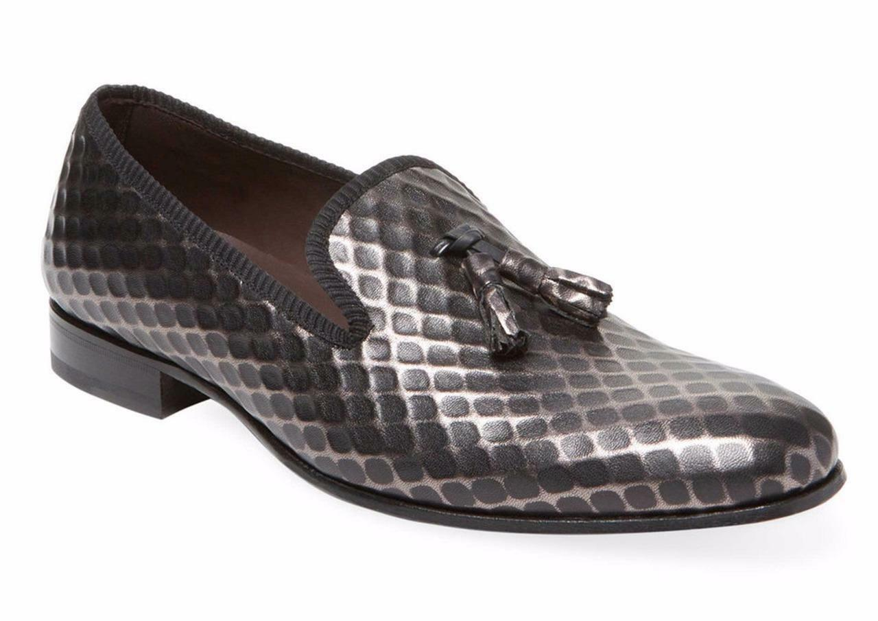 New in Box -  350 Mezlan Hilbert Embossed Black Leather Tassel Loafers Size 10.5