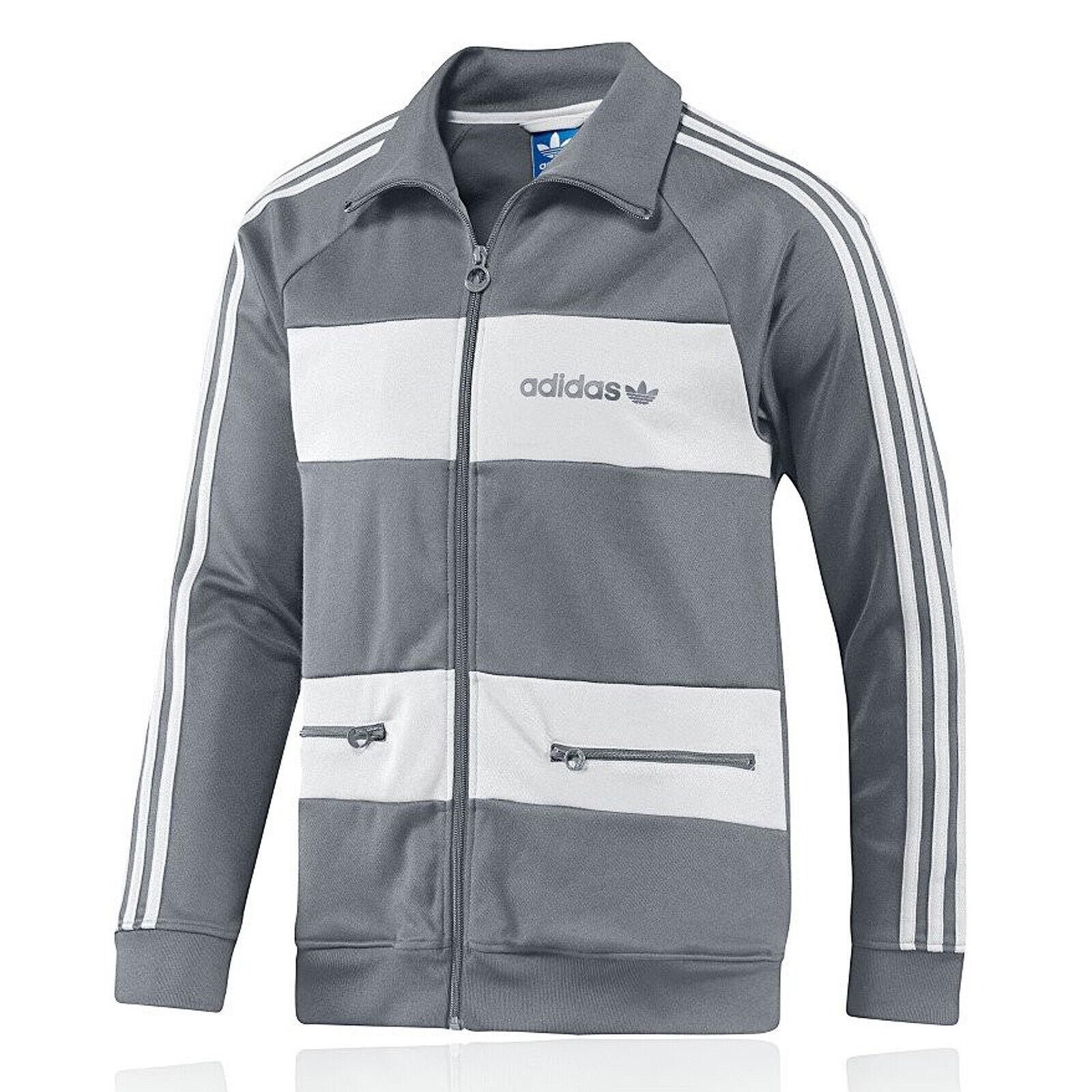 Adidas Originals Beckenbauer Felpa Tuta Europa Giacca Allenamento Grigio Bianco
