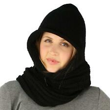 Winter Pullover Knit Loop Tube Infinity Hood Cowl Turtleneck Scarf Ski Hat Black