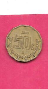 MEXICO-MEXICAN-KM549-2000-VF-VERY-FINE-NICE-OLDER-50-CENTAVOS-OLD-COIN