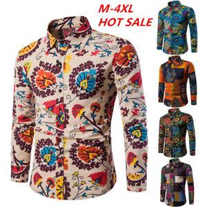 Fashion-Mens-Floral-Printed-Casual-Shirts-Dress-T-shirt-Long-Sleeve-Slim-Tops