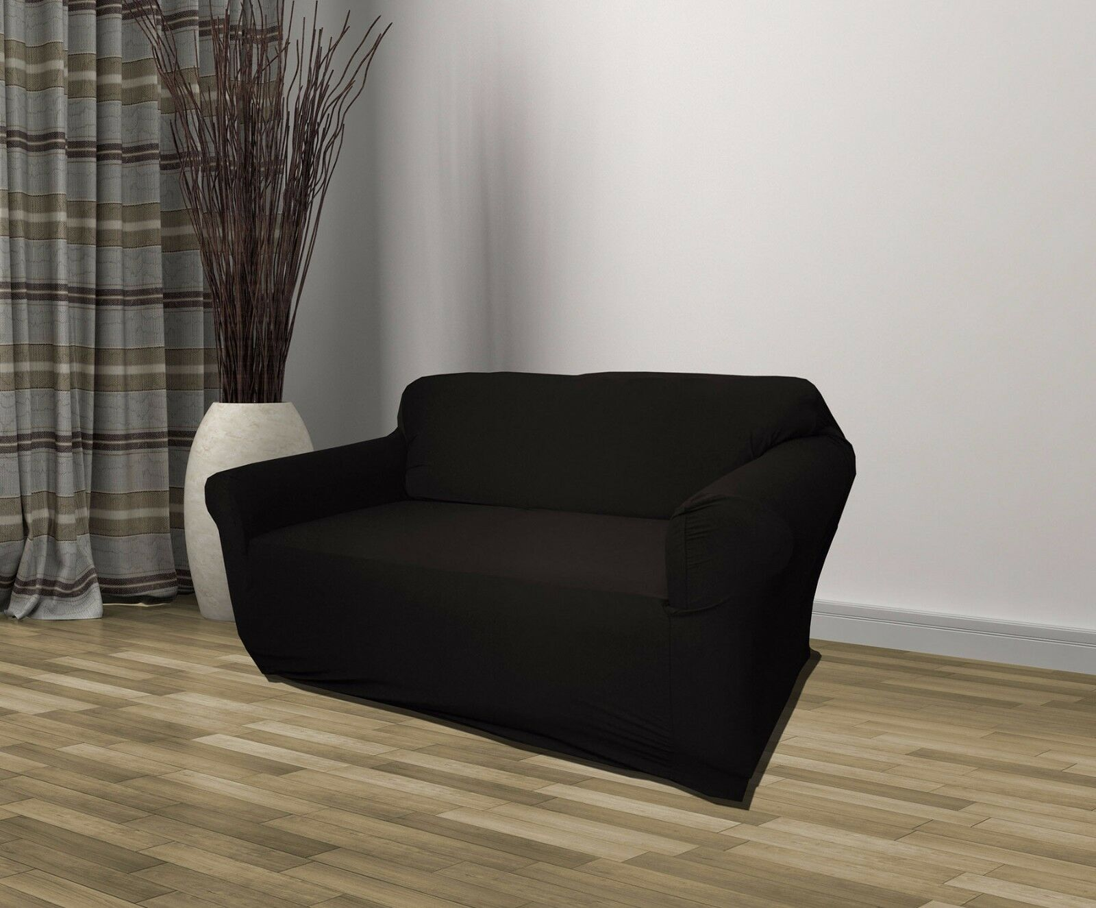 Merveilleux Black Jersey Stretch Couch Furniture Slipcover Chair   Love Seat   Sofa    Recliner
