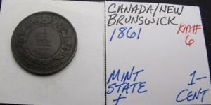 CANADA-NEW-BRUNSWICK-1861-1-CENT-MINTY-KM-6-REALLY-NICE-TYPE-COIN-LOOK