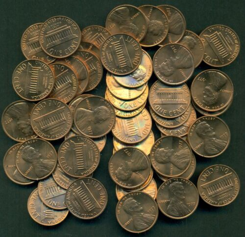 GREAT PRICE! ROLL 50 COINS OF UNCIRCULATED 1977-P LINCOLN CENTS