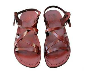 d93cc5b2db5251 Image is loading Jerusalem-Biblical-Jesus-Sandals-Brown-Leather-Strap -Buckle-