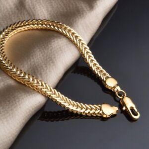 18k-Yellow-Gold-Plated-Miami-Cuban-Link-Bracelet-For-Men-Women-Franco-Rope