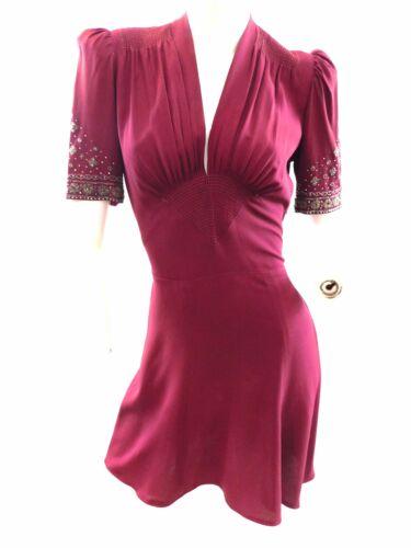Vintage 1930s  beaded moss crepe mini dress Made i