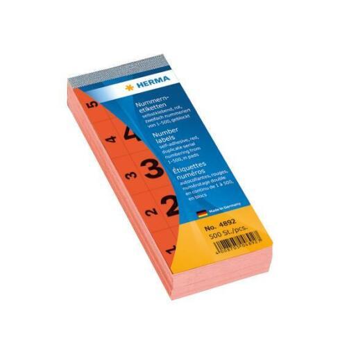 HERMA 4892 Nummernblock selbstklebend 500 Stück 28x56mm rechteckig matt rot