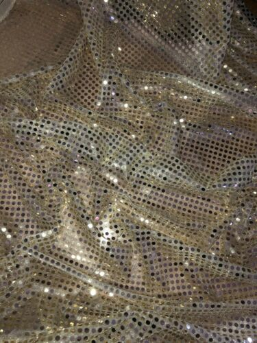"""3 MTR LIGHT GOLD 6mm SHINY SPARKLY SEQUIN DRESS FABRIC..58"""" WIDE NEW IN STOCK"""