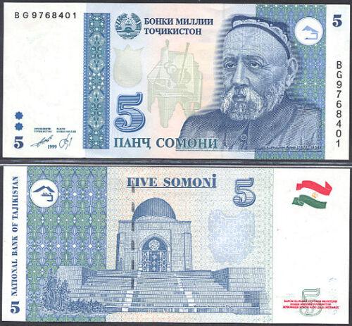 TAJIKISTAN  5  SOMONI 1999   P 15  LOT 2 Pcs  Uncirculated  Banknotes